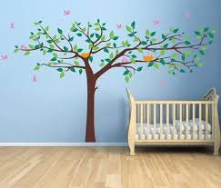 Amazon Com Popdecors Colorful Super Big Tree Four Colors Dark Brown Greens Yellow And Pink 133inch W Tree Wall Decals For Kids Rooms Murals Wall Stickers Nursery Decals Pt 0129 Color New Brown
