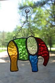 elephant stained glass suncatcher by