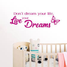 Quote Wall Decal Live Your Dreams Wall Decal Sticker Nursery For Home Decor Krafmatics
