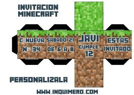 Invitacion De Cumpleanos Minecraft Inquimero