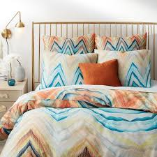 marble chevron blue orange sateen bedding