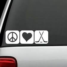 M1078 Peace Love Hockey Decal Sticker Auto Window Art Hockey Stick Puck Ebay