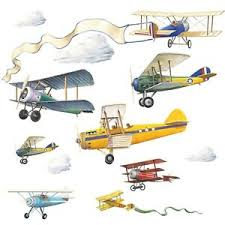Vintage Planes 22 Wall Stickers Airplane Clouds Biplane Decals Room Decor Boys 34878411699 Ebay