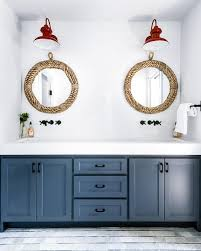 dual washstand with round rope mirrors