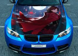 Nice Anime Car Hood Wrap Full Color Vinyl Sticker Decal Fit Any Car Auto Parts And Vehicles Car Truck Graphics Decals Magenta Cl