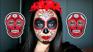 red sugar skull makeup tutorial