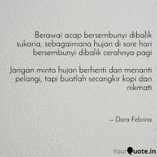 berawai acap bersembunyi quotes writings by dora febrina