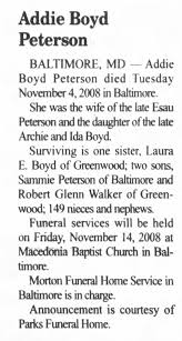Obituary for Addie Boyd Peterson - Newspapers.com