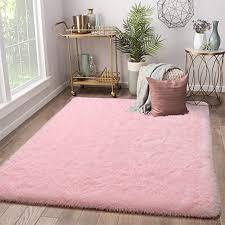Amazon Com Terrug Soft Kids Room Rug Pink Shag Area Rugs For Bedroom Living Room Carpet Plush Fluffy Fur Rug For Nursery Girls Dorm Home Decor 4x6 Feet Pink Kitchen Dining