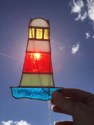 stained glass lighthouse suncatcher