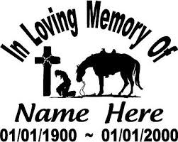 In Loving Memory Cowboy Praying Horse Cross Decal Window Car Personalized Ebay