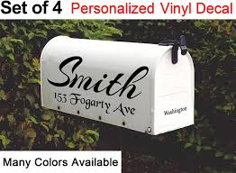 Amazon Com Cus2mize Mailbox Decal Set Of 4 Name Decal For Mailbox Family Name Decal For Door Mailbox Number Sticker Personalized Mailbox Decal Personalized Decal Vinyl Decal Mailbox Sticker 4