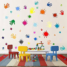 Amazon Com Buckoo Rainbow Color Paint Splatter And Splotches Wall Decal Colorful Hand Print Wall Decal Sticker Colorful For Nursery Wall Decal Kids Room Decor Calssroom Decals Home Kitchen