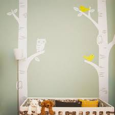 Birch Tree Wall Decal With Owl And Birds Simple Shapes