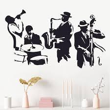 Wall Decal Jazz Saxophone Instrument Tool Band Musical Player Sticker Art Vinyl Drums Bass Wall Decal Vinyl Mural Adesivo Wa 24 Wall Decals Vinyl Wall Decalsadesivo Murale Aliexpress