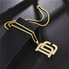 hip hop letter dc big pendant necklace