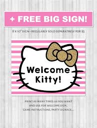 Hello Kitty Party Printable Decor Pack Pink Gold Glitter