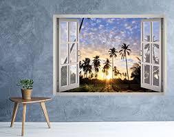 California Beach Summer View Window 3d Wall Decal Art Decal Wall Art 3d Wall Decals Mural Wallpaper
