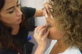 makeup clients in the salon