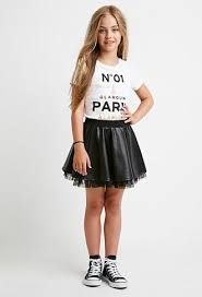 tulle trimmed faux leather skirt kids