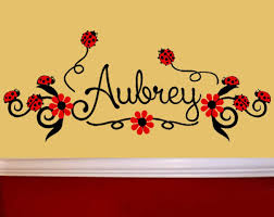 Ladybugs And Flowers Personalized Vinyl Wall Decal Art Nursery Decor Girls Room For Sale Online Ebay