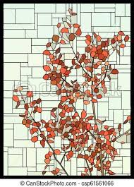 vector stained glass window with red
