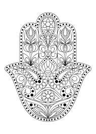 Hand Getekend Hamsa Symbool Hand Van Fatima Etnische Amulet Die