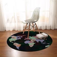 World Map Round Carpets For Living Room Vivid Printed Chair Area Rug B Top Bestes