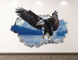 Eagle Wall Decal Animal 3d Smashed Wall Art Sticker Kids Room Decor Vinyl Home Poster Custom Gift Kd197 In 2020 Sticker Wall Art Home Poster Wall Decals