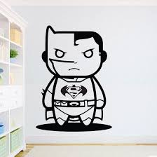 Waliicorners Batman Wall Sticker Superhero Inspiration Wall Decal Kids Boys Room Decor Superman Vs Batman Wall Art Mural Cartoon Decal Ay1281 Waliicorner S Store