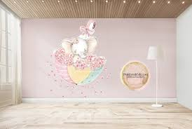 Umbrella Elephant Watercolor Wall Decal Sticker Wallpaper Decals Set B Pink Forest Cafe