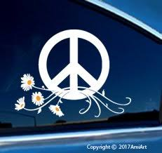 Bumper Stickers Decals Magnets Peace Sign Symbol Car Window Sticker Decal Large White Yellow Peace Daisy Flower Power Vinyl Sticker For Car Window Laptop Walls Truck Trailer Offers Bumper