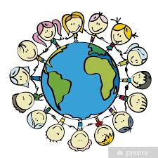 Kids Around The World Save The Planet Earth Holding Hands Wall Mural Pixers We Live To Change