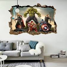 Cartoon Avengers Wall Sticker 3d Decals Wallpaper Mural Art Poster For Kids Room For Sale Online Ebay
