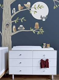 Amazon Com Friendly Forest Owls With Corner Tree Wall Decal Scheme C Baby