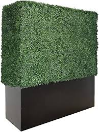 Amazon Com Artigwall Artificial Boxwood Hedge Divider Wall With Black Stainless Steel Planter Box 48 H X 48 L X 14 D Garden Outdoor