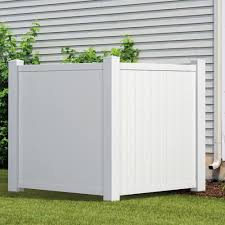 Outdoor Essentials 4 5 Ft H X 3 5 Ft W White Vinyl Privacy Corner Accent Fence Panel Kit 175848 The Home Depot Air Conditioner Cover Outdoor Outdoor Essentials Outdoor Trash Cans