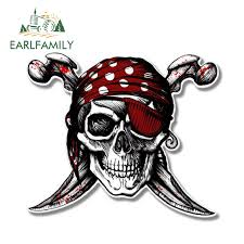 Earlfamily 13cm X 11 22cm Cool Car Accessories Pirate Skull Jolly Roger Decal Motorcycle Helmet Car Stickers Window Bumper Vinyl Buy At The Price Of 1 39 In Aliexpress Com Imall Com