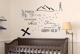 Peter Pan Wall Decal Neverland Wall Decal Tinkerbell Wall Decal Treasure Map Pirate Sticker Pirate Decal Wall Decals Removable Vinyl Wall Decals Baby Boy Rooms