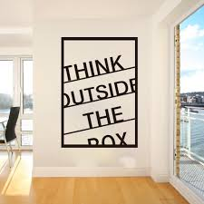 Home Garden Home Decor Motivational Vinyl Wall Stickers Decal High Quality New Think Outside The Box Home Garden Home Decor
