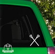Amazon Com Grain To Glass Designs Lacrosse Sticks Vinyl Car Decal 4 White Automotive