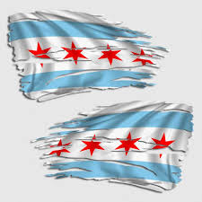 Tattered Chicago Flag Decal Distressed Chi Town Sticker