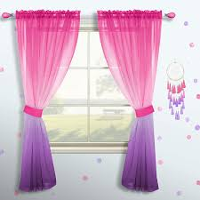 Amazon Com Pink And Purple Curtains For Girls Bedroom Decor Set 1 Single Panel Pocket Window Voile Pastel Sheer Ombre Rainbow Curtain For Kid Room Decoration Teen Princess 63 Inch Length Gradient Lilac