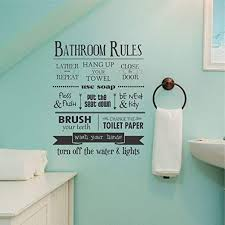 Amazon Com Wall Quote Decal Bathroom Rules House Rules Kids Bathroom Washroom Restroom Typography Subway Art Decor Whimsical Vinyl Decal Home Kitchen