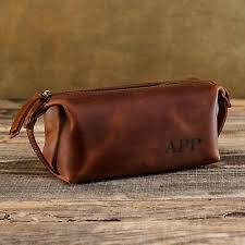 leather toiletry bag men personalized