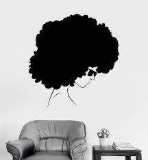 Vinyl Wall Decal Afro Style Woman Black Lady Stickers Unique Gift Ig3902 Vinyl Wall Decals Afro Style Wall Decals