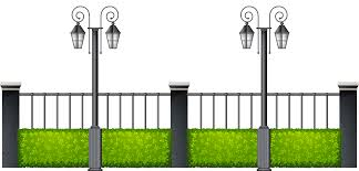 Metal Fence With Streetlights Png Clipart Best Web Clipart
