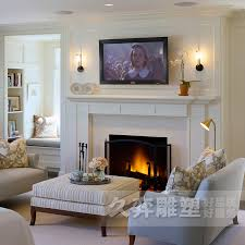 marble fireplace tv wall carved stone