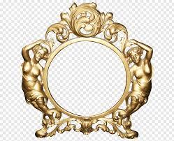 art deco round gold metal frame