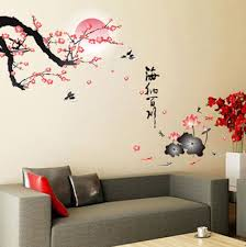 Japanese Culture Sakura Tree Wall Sticker Vinyl Home Decal Living Room Japan Dekor Sten Komnaty Dekor Sten Dekor